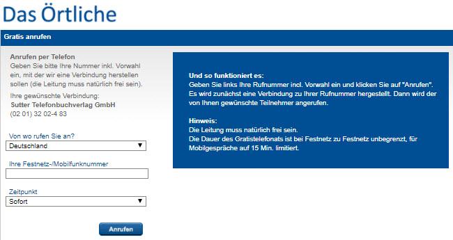 Web-Darstellung der Gratis-Anrufen-Funktion /Eintrag in den Verzeichnisdienst