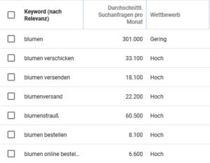 Darstellung des Google Keyword Planners um passende Keywords zu finden