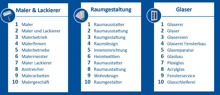 Suchbegriffe für Handwerker: Maler & Lackierer, Raumgestaltung und Glaser